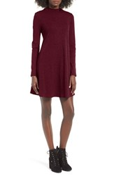 One Clothing Women's Ribbed Swing Dress Burgundy