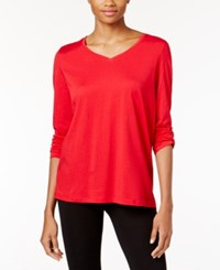 Hue V Neck Long Sleeve Pajama T Shirt Tango Red