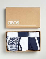 Asos Christmas Briefs In Gift Box With Fair Isle Print 3 Pack Navy