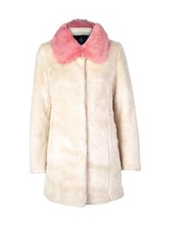 Unreal Fur Candy Blossom Contrast Collar Coat Cream