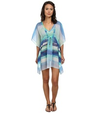 Echo Prism Stripes Silky Butterfly Cover Up Turquoise Women's Swimwear Blue