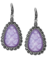 Genevieve And Grace Lavender Jade Doublet 3 8 Ct. T.W. And Marcasite Teardrop Earrings In Sterling Silver