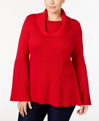 Styleandco. Style Co. Plus Size Cowl Neck Bell Sleeve Babydoll Sweater Only At Macy's New Red Amore