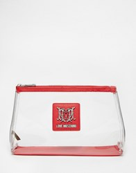 Love Moschino Clear Cosmetic Bag Red