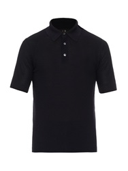 Dunhill Waffle Knit Mulberry Silk Polo Shirt