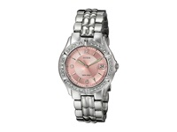 Guess G75791m Stainless Steel Quartz Watch Silver Bracelet Silver Case With Crystals Pink Dial Watches