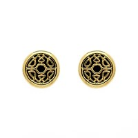 Biba Gold Button Crystal Fabric Earrings