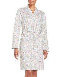 Lord And Taylor Knit Cotton Robe Paisley Pink