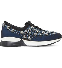 Dune Enigma Embellished Trainers Black Fabric