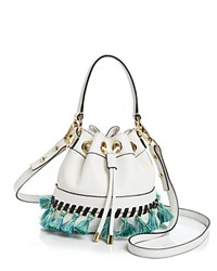 Milly Small Whipstitch Tassel Drawstring Bucket Bag White