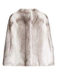 Alma Rosa Shearlings Visone Mink Fur Cape White Multi