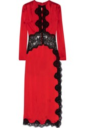 Alessandra Rich Lace Trimmed Satin Gown Red