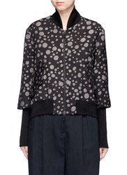 Song For The Mute 'Lunar' Moon Print Cropped Bomber Jacket Brown