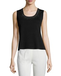 Ming Wang Crystal Trim Scoop Neck Knit Tank Blk