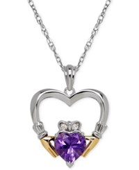 Macy's Amethyst 1 1 10 Ct. T.W. And Diamond Accent Heart Pendant Necklace In Sterling Silver And 14K Gold