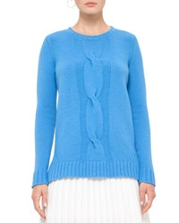 Akris Punto Cable Knit Crewneck Sweater Azure