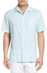 Tommy Bahama Men's 'Checks And Caicos' Original Fit Cotton And Silk Camp Shirt Pool Blue