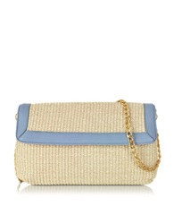 Buti Straw And Leather Clutch W Shoulder Strap Blue