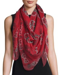 Alexander Mcqueen Poppy And Skull Silk Chiffon Shawl Red Black Black Red