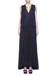 Lanvin Colourblock Drawstring Plunge V Neck Dress Blue