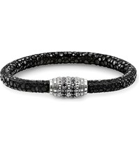 Thomas Sabo Rebel At Heart Stingray Effect Nappa Leather Sterling Silver And Pave Black Zirconia Unity Bracelet