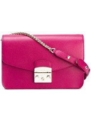 Furla Push Lock Shoulder Bag Pink Purple