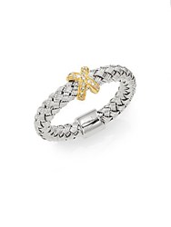 Effy Diamond 18K Yellow Gold And Sterling Silver Woven Ring Silver Gold