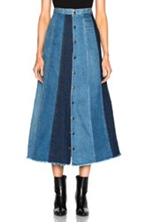 Saint Laurent Long Patchwork Denim Skirt In Blue