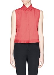 Azzedine Alaia Plisse Pleat Hem Sleeveless Poplin Top Red