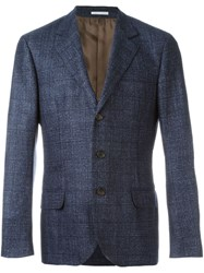 Brunello Cucinelli Checked Tweed Blazer Blue