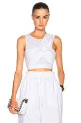 3.1 Phillip Lim Knot Detail Crop Top In White Stripes