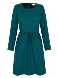 Yumi Leatherette Textured Skater Dress Green