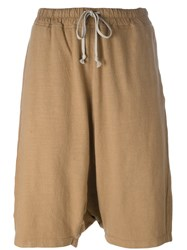 Rick Owens Drkshdw Casual Drop Crotch Shorts Brown