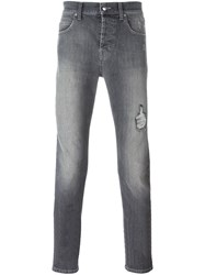 Mcq By Alexander Mcqueen Mcq Alexander Mcqueen Distressed Slim Fit Jeans Grey