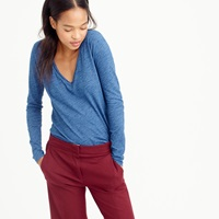 J.Crew Indigo Vintage Cotton Long Sleeve V Neck Tee