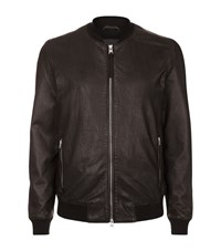 Allsaints All Saints Mower Leather Bomber Jacket Male Black