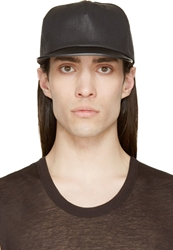 Rick Owens Black Leather Brim Baseball Cap