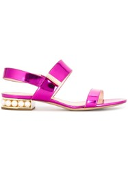Nicholas Kirkwood 'Casati Pearl' Double Strap Sandals Pink And Purple