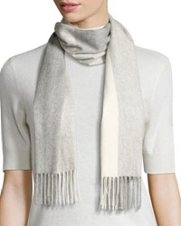 Neiman Marcus Cashmere Colorblock Scarf Gray Brume Gray