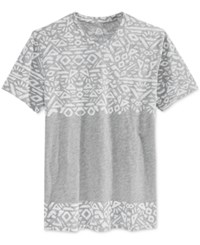 American Rag Men's Patternblocked Geo Print V Neck T Shirt Only At Macy's Ar Pewter Heather