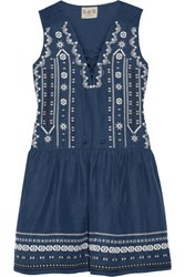 Sea Crochet Trimmed Embroidered Silk And Linen Blend Mini Dress Storm Blue