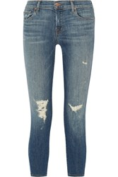 J Brand Distressed Low Rise Skinny Jeans Mid Denim