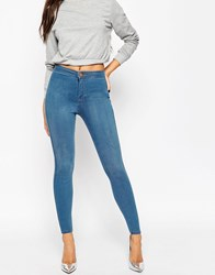 Asos Rivington High Waisted Denim Jeggings In Orchid Wash Blue