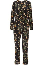 Johanna Ortiz Johnny Cash Open Back Printed Silk Satin Jumpsuit Black