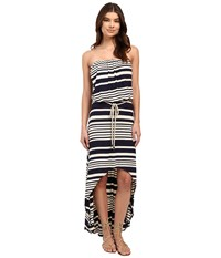 Culture Phit Annia High Low Dress With Rope Belt Navy Oatmeal Women's Dress