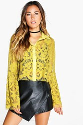 Boohoo Boutique Lace Bell Sleeve Crop Shirt Lime