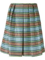 Erika Cavallini Semi Couture Striped Jacquard Pleated Skirt