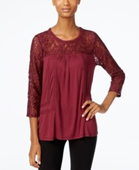 Cable And Gauge Lace Knit Peasant Top Burgundy