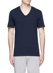 James Perse V Neck Cotton Slub Jersey T Shirt Blue