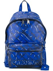 Moschino Trompe L'ail Quilted Backpack Blue